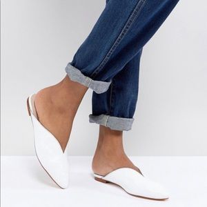 White leather slip on mules